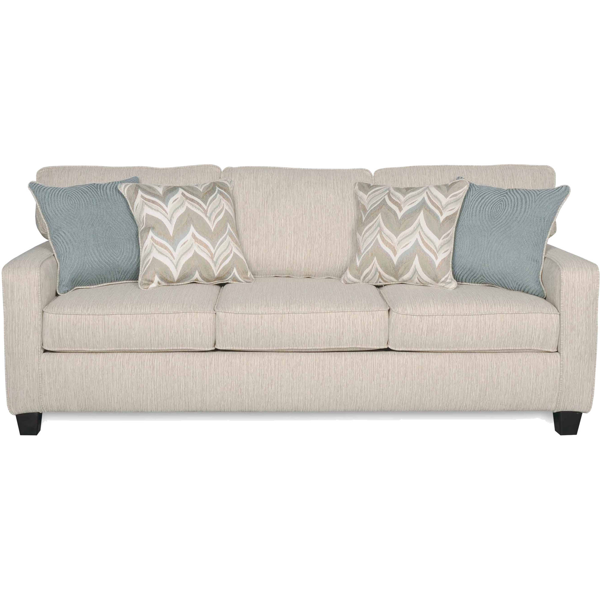 SoFab Austin Almond Three Seat Sofa With 4 Accent Pillows   Walmart.com