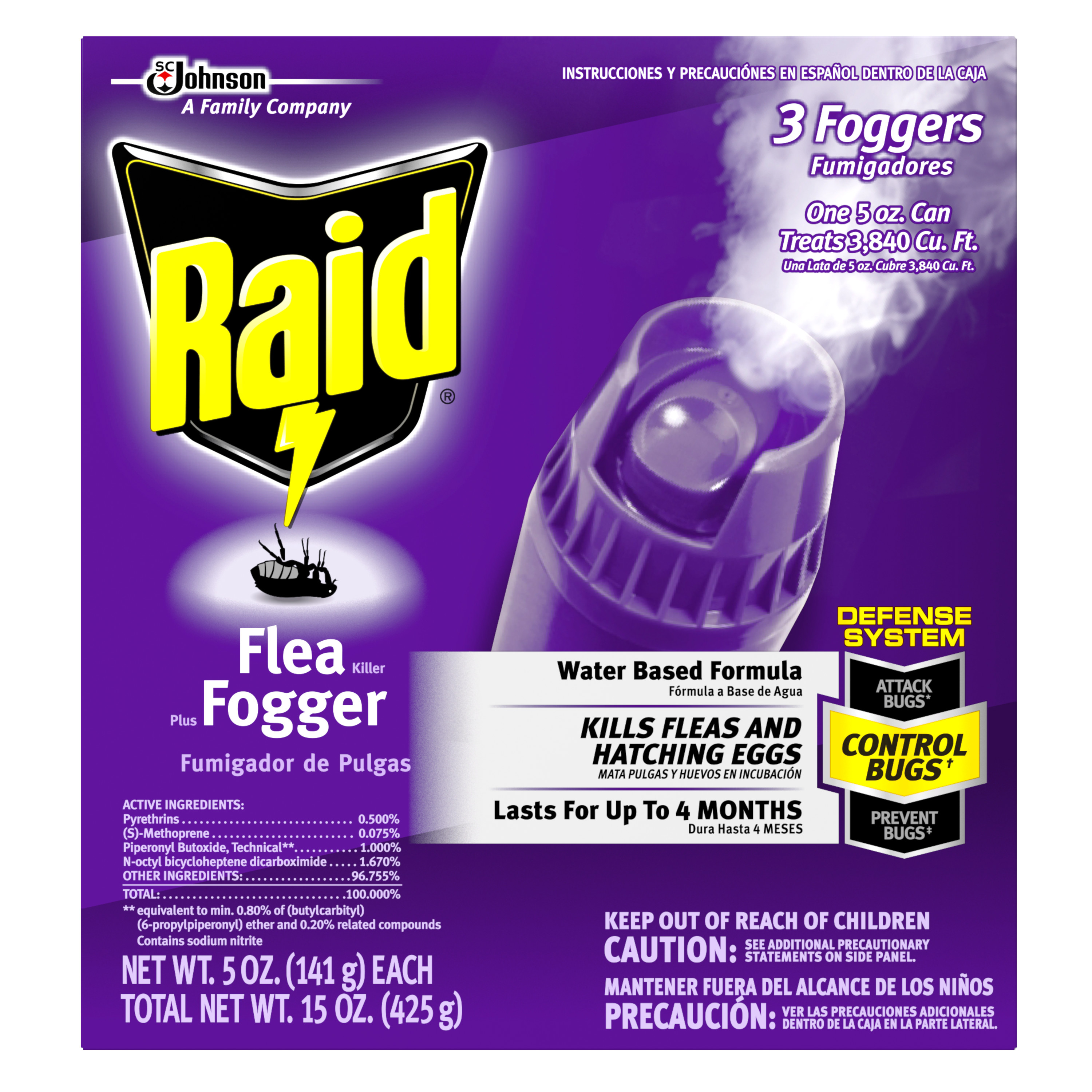 Raid Flea Killer Plus Fogger 15 Ounces.