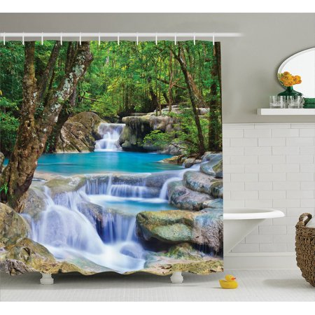 Natural Waterfall Decor Shower Curtain Set, Fairy Image Of Asian Waterfall By The Rocks In Forest Secret Paradise, Bathroom Accessories, 69W X 70L Inches, By Ambesonne (Waterfall Shower Curtain)