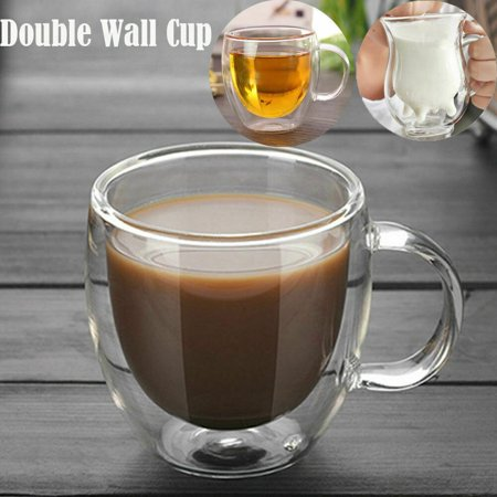 Double Wall Cup Coffee Glass Tea Mug Insulated Mugs Espresso Cups Wine Beer 150ml ()