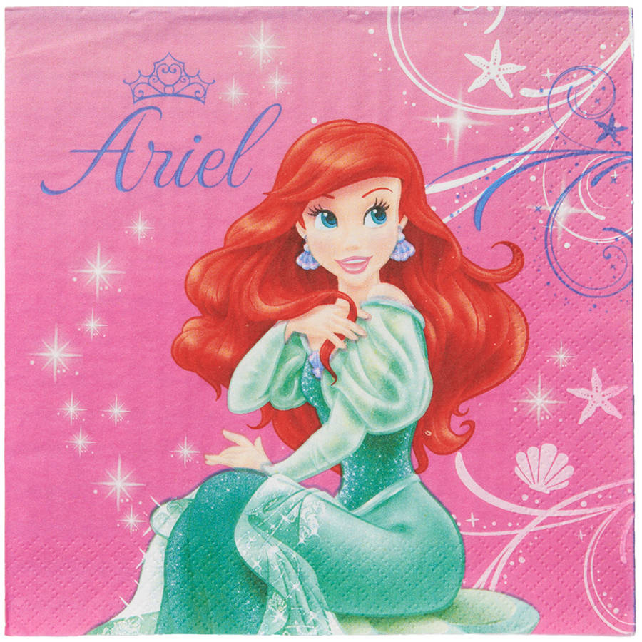The Little Mermaid Lunch Napkins, 16 Count, Party Supplies