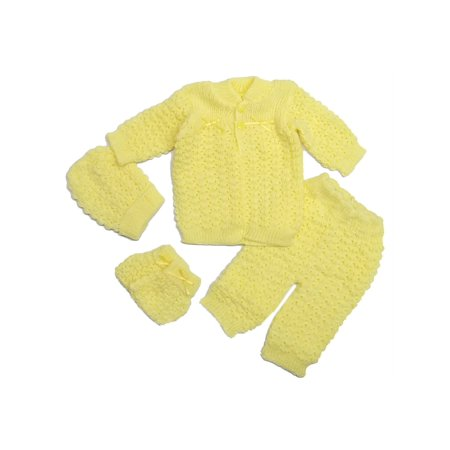 Baby Girls Multi Cardigan Sweater Crochet Hat Pants Mittens 4 Pc Set 0-3M - Boutique Baby Clothes Online