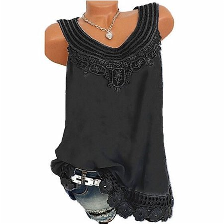 Summer Tank Tops For Women Plus Size Loose Shirt Vest Fashion O-Neck Sleeveless Lace Solid Tops ()