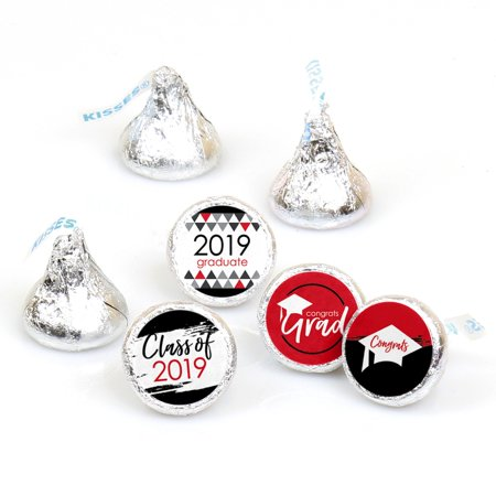 Red Grad - Best is Yet to Come - Red 2019 Graduation Party Round Candy Sticker Favors - Labels Fit Hershey's Kisses (1 - Kiss Kruise Halloween Party