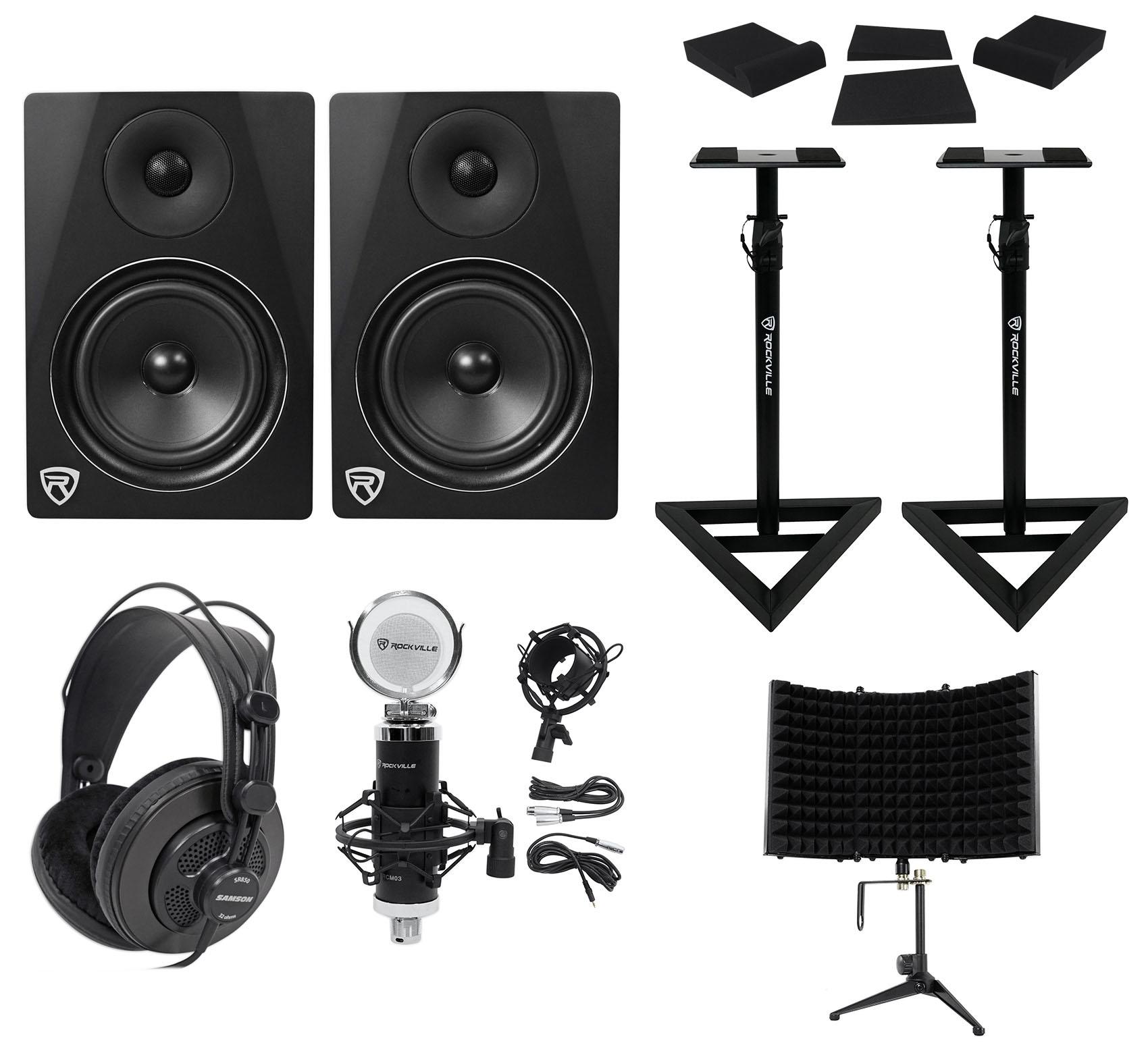 "2) Rockville DPM6B 6.5"" 420w Active Studio Monitors+Stands+Headphones+Mic+Shield by ROCKVILLE"