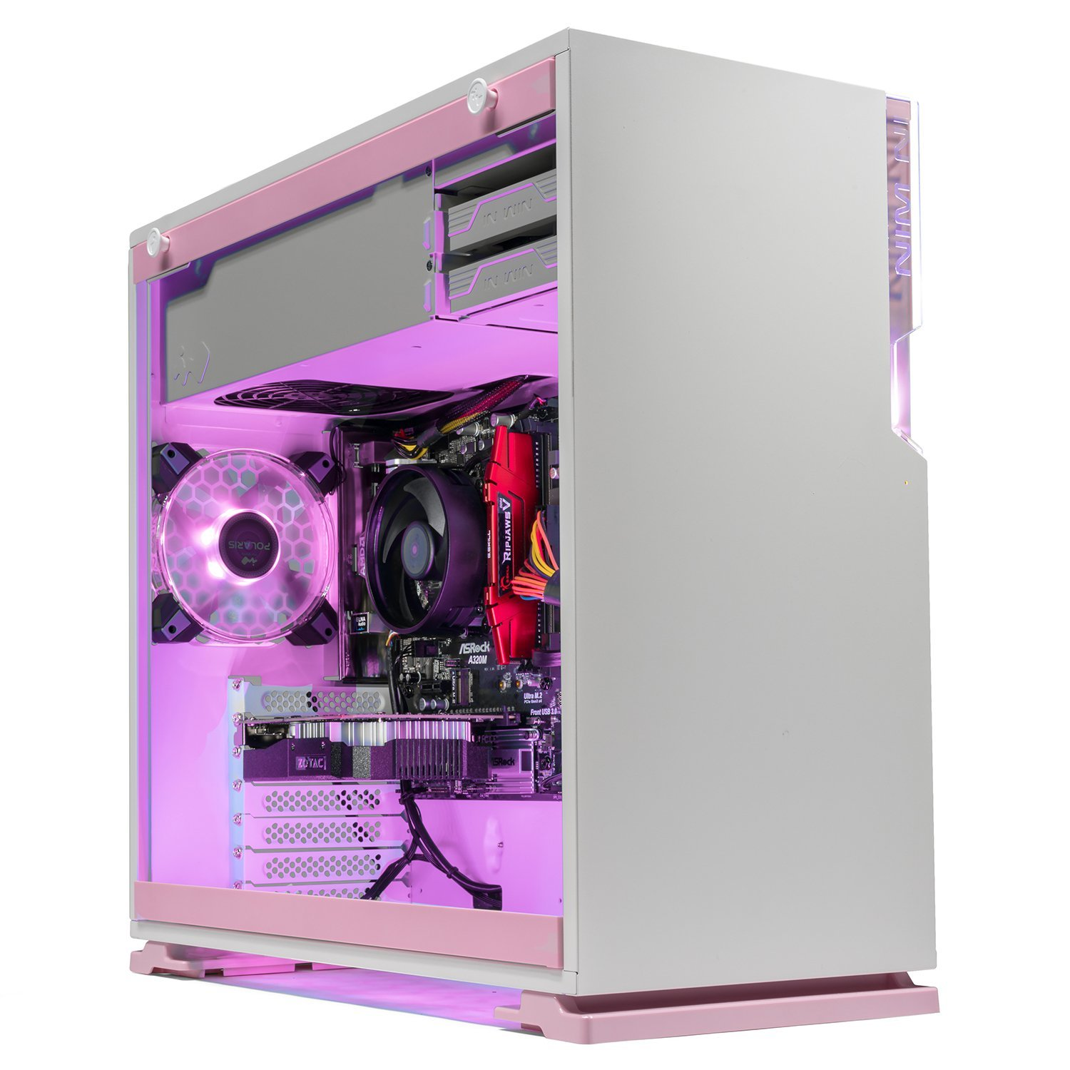 [Limited Pink Edition] SkyTech Venus Desktop Gaming Computer PC (Ryzen 3 1200, GTX 1050 Ti 4GB, 8GB DDR4, 1TB HDD, 500 Watts PSU, Win 10 Home, RGB Silent Fans) (GTX 1050 TI | 8GB | No SSD)