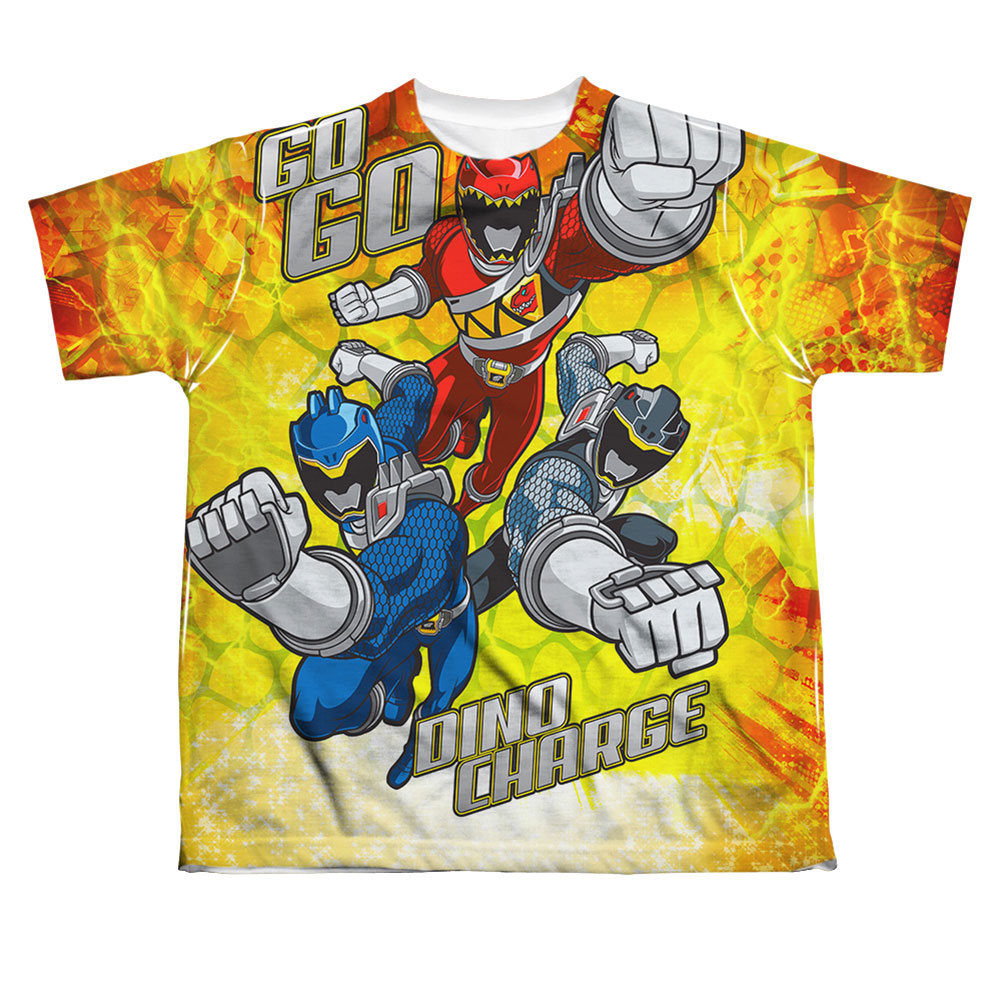 Power Rangers Men's  Go Go Dino Charge Sublimation T-shirt White