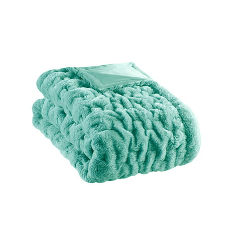Home Essence Ultra Soft Ruched Long Fur Solid Throw