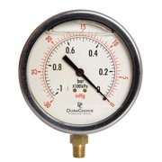 """4"""" Oil Filled Vacuum Pressure Gauge - Stainless Steel Case, Brass, 1/4"""" NPT, Lower Mount Connection -30HG/0PSI"""