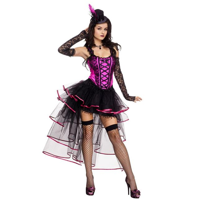 Music Legs 70512-XL 4 Piece Burlesque Corset Top & Multi Layered Long Back Ribbon Trimmed Skirt - Extra Large