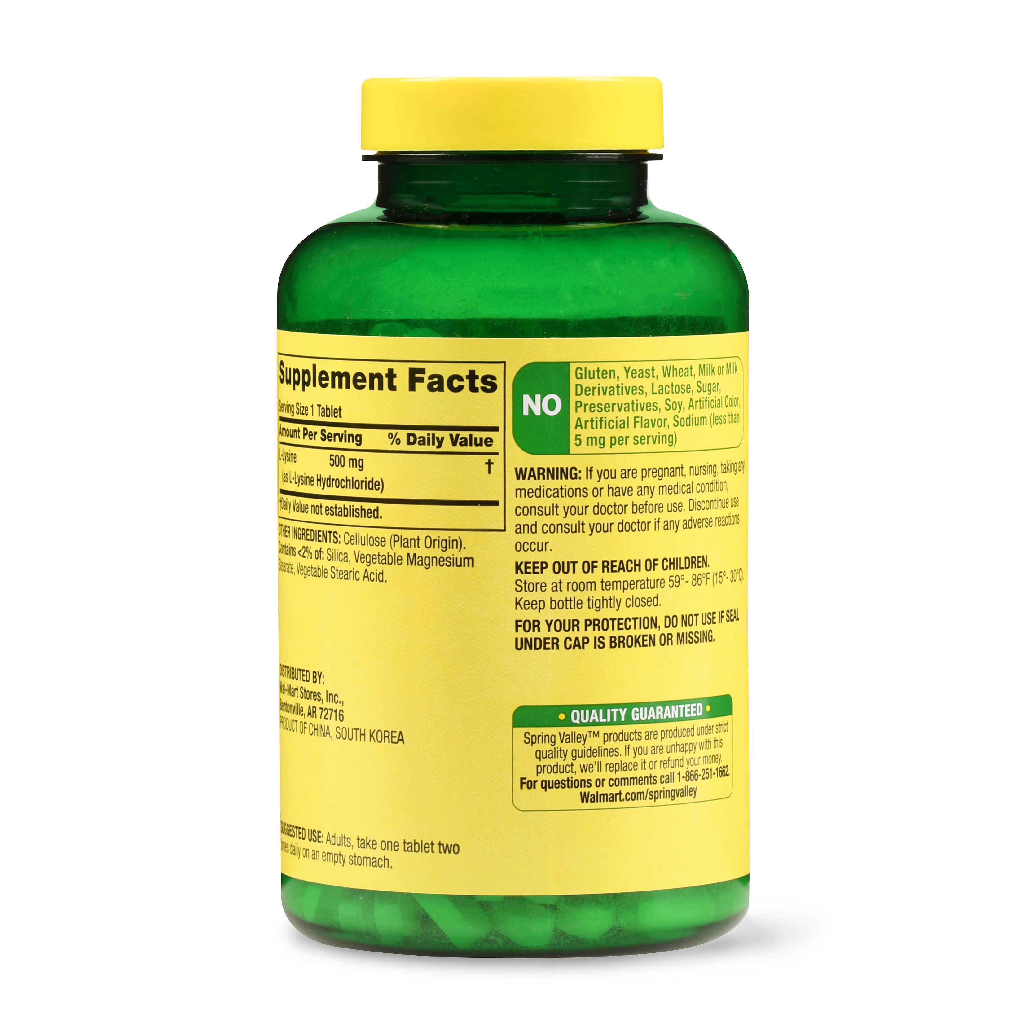 Spring Valley L-Lysine Tablets, 500 mg, 250 Ct - Walmart.com