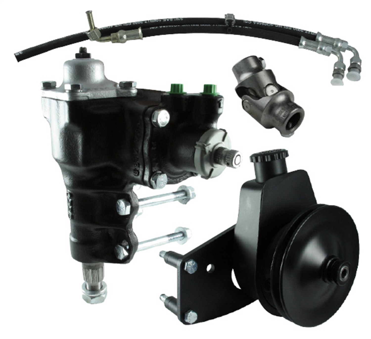 Borgeson 999059 Power Steering Conversion Kit; Complete Kit Incl. P/S Box; Pump Bracket And Pulley; P/S Hoses And Universal Joint;
