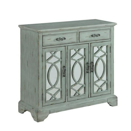 40 in. Rustic Style Credenza Accent Cabinet with Two Mirrored Doors & Two Drawers in Light Teal (Teak Buffet)