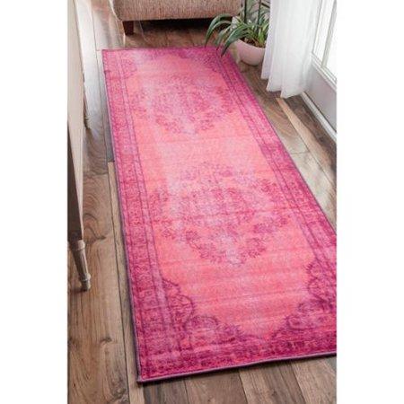 f8f29e139afec6 Nuloom Vintage Inspired Fancy Overdyed Pink Runner Rug (2'8 x 8') -  Walmart.com