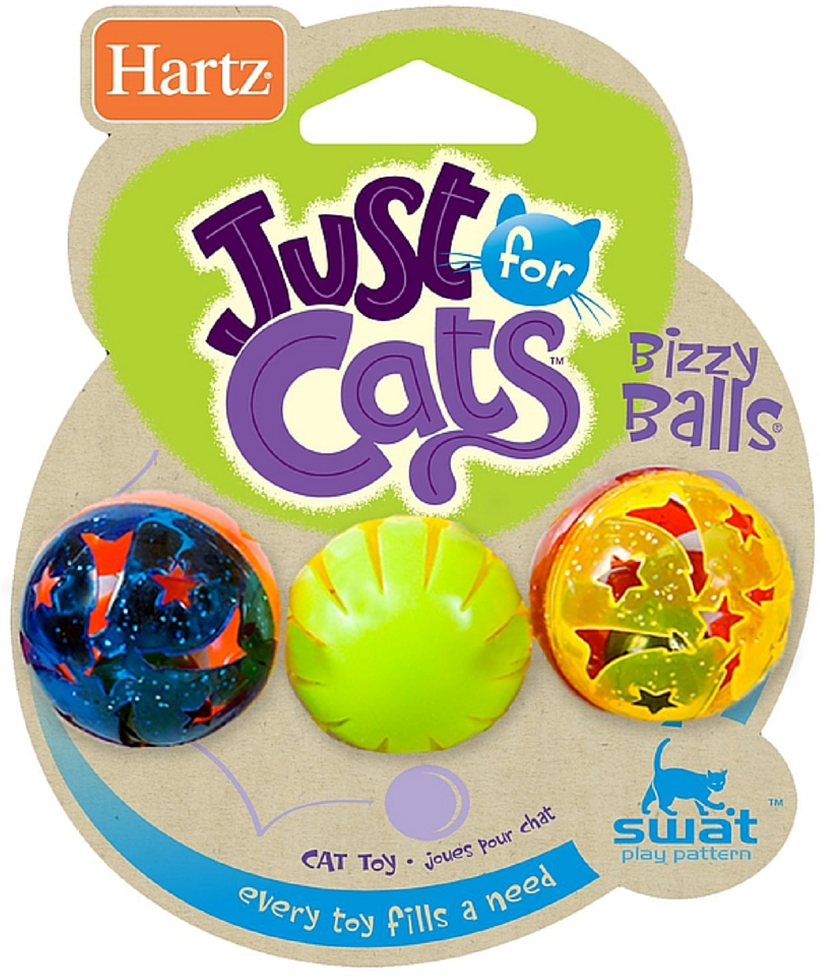 2 Pack Hartz Just For Cats Bizzy Balls Cat Toys 3 ea by