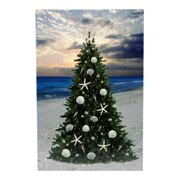 Beach Christmas Tree Printed Canvas Picture LED Lights Up 17.5 Inch Wall Plaque