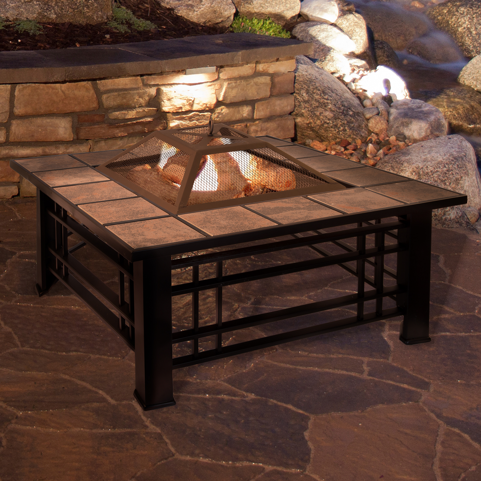 "Fire Pit Set, Wood Burning Pit - Includes Spark Screen and Log Poker - Great for Outdoor and Patio, 32"" Square Tile Firepit by Pure Garden"