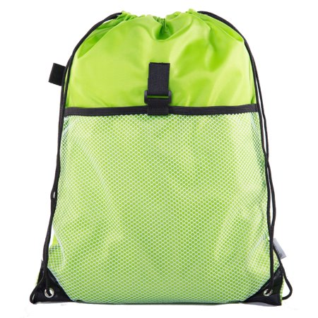 Drawstring Closure Nylon Bag (Drawstring Cinch Bag Backpack With Mesh Pocket Polyester Tote)
