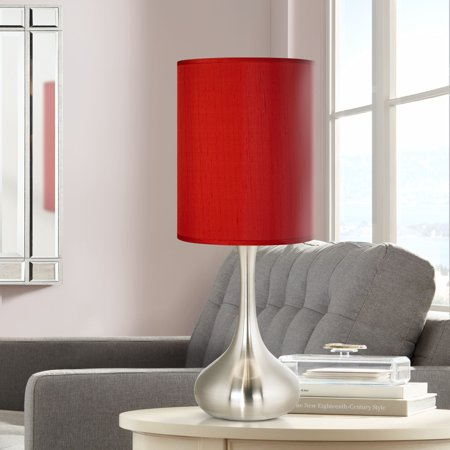 Possini Euro Design Modern Accent Table Lamp Brushed Steel Metal Droplet China Red Faux Silk Cylinder Shade for Living Room Family