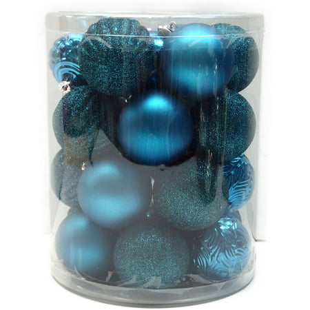 holiday time christmas ornaments teal 60mm shatterproof ornament set of 26 - Teal Christmas Ornaments