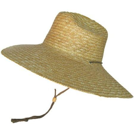Headchange Super Wide Brim Lifeguard Hat Sewn Braid Straw Beach Sun Summer Surf Safari (Medium/Large = 7 1/8 - 7 5/8, Natural)