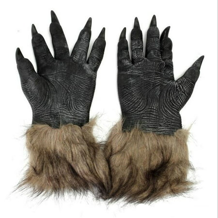 Halloween Costumes Anime Cosplay (Men's Brown Hairy Wolf Claw Gloves Werewolf Hands for Cosplay Show Costume Party Halloween Masquerade)