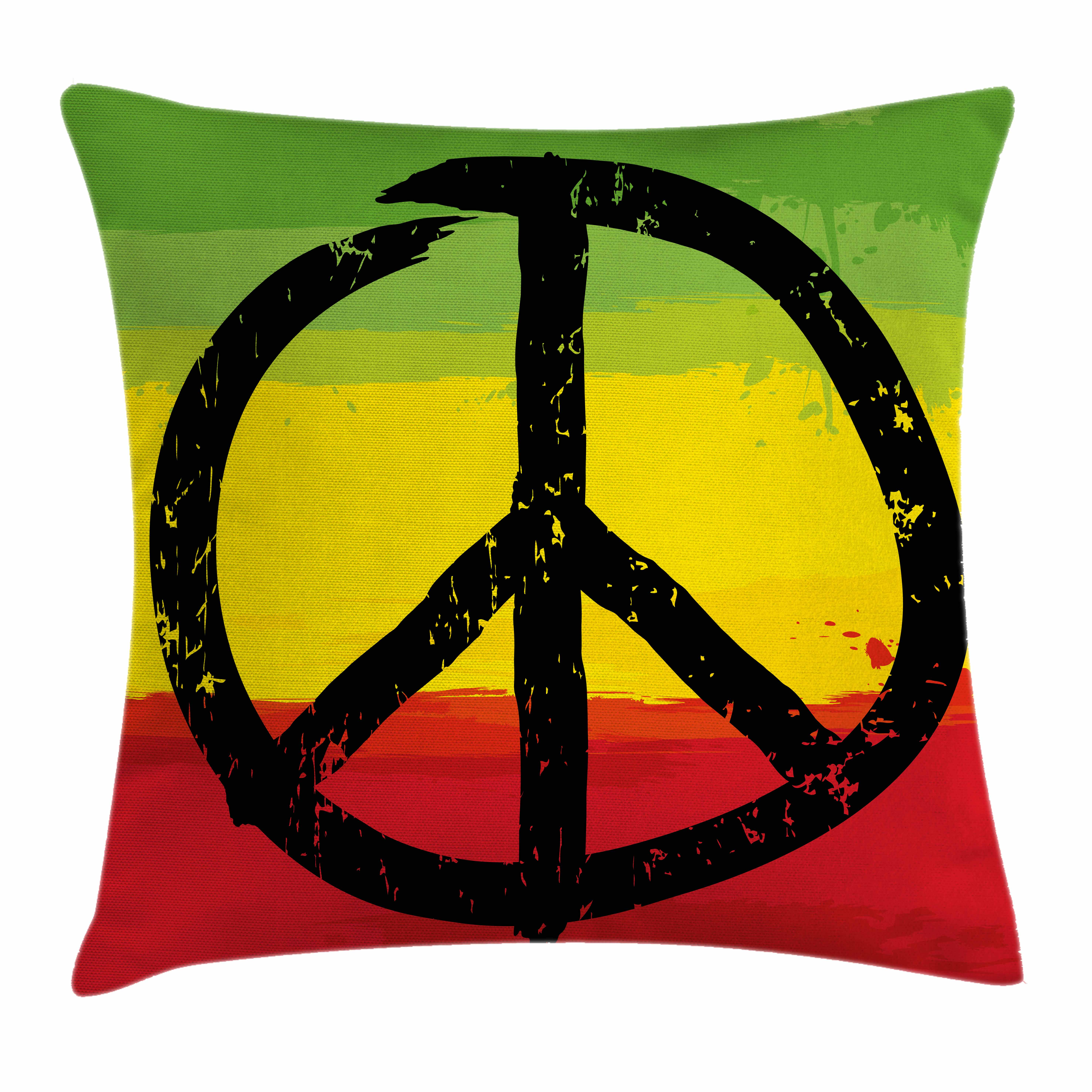 Rasta Throw Pillow Cushion Cover, Grunge Style Watercolor Design African Flag Colors Hippie Peace Sign, Decorative Square Accent Pillow Case, 16 X 16 Inches, Black Green Yellow and Red, by Ambesonne