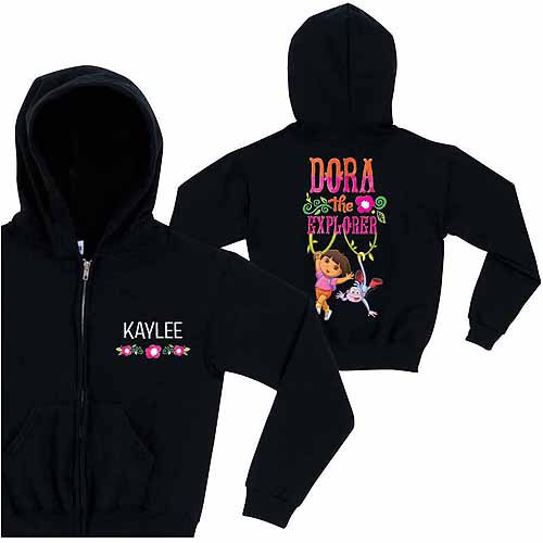 Personalized Dora the Explorer Friends Forever Girls' Black Zip-Up Hoodie