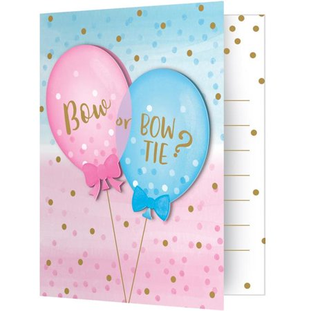 Balloon Invitations (Creative Converting Gender Reveal Balloons Invitation Foldover W/ Attachment, 8)