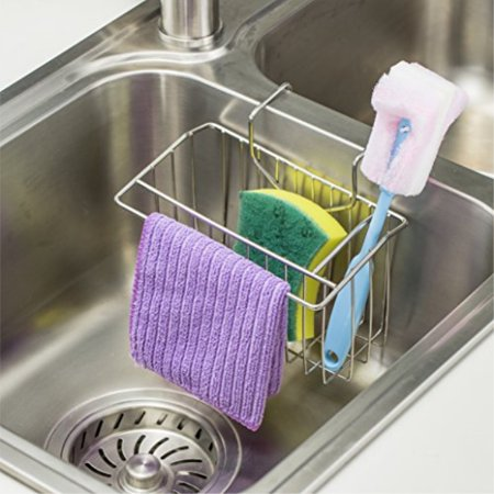 Sponge Holder for Kitchen Sink. WORTOOL Stainless Steel Sink Caddy Kitchen  Sponge Holder Brush Soap Dishwashing Liquid Drain Rac