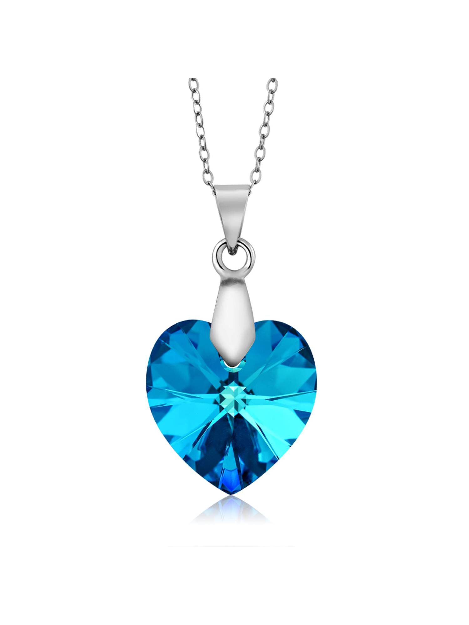 Collection Bermuda Blue Heart Pendant Created with Swarovski Crystals