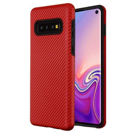 Samsung Galaxy S10 Case, by Insten Carbon Fiber Dual Layer [Shock Absorbing] Hybrid Hard Plastic/Soft TPU Rubber Case Cover For Samsung Galaxy S10, Red/Black - image 5 of 5