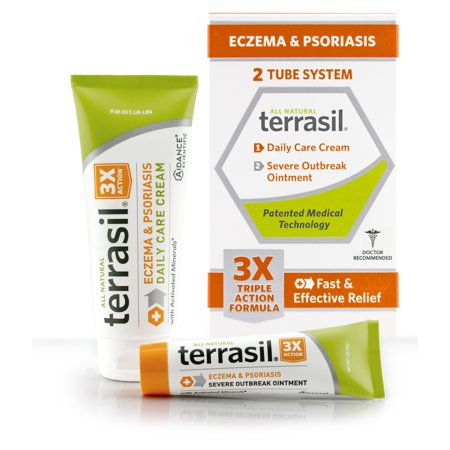 Terrasil® Eczema & Psoriasis 2-Tube Outbreak Ointment and Daily Use Cream with All-Natural Activated Minerals® 3X Triple Action Formula (28gm ointment tube + 85gm cream tube)
