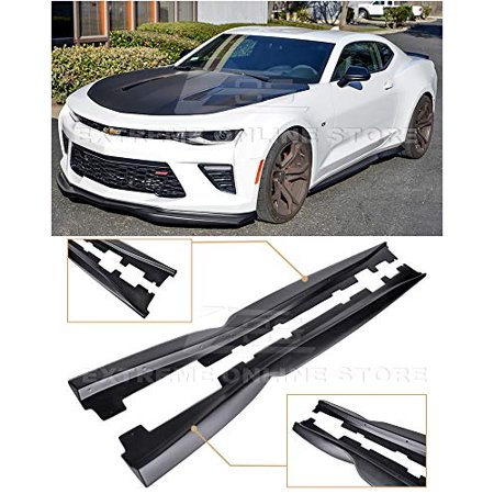 Replacement for 2016-Present Chevrolet Camaro | EOS T6 Style ABS Plastic Primer Black Add On Bottom Line Side Skirts Rocker Panel Extension Pair