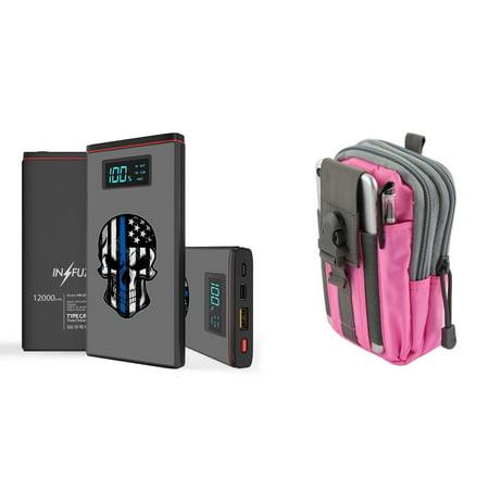 INFUZE Slim Pocket 12000mAh Portable Charger Dual (USB-A, USB-C) 18W QC 3 0  Power Bank (Thin Blue Line American Skull), Tactical Organizer Pouch