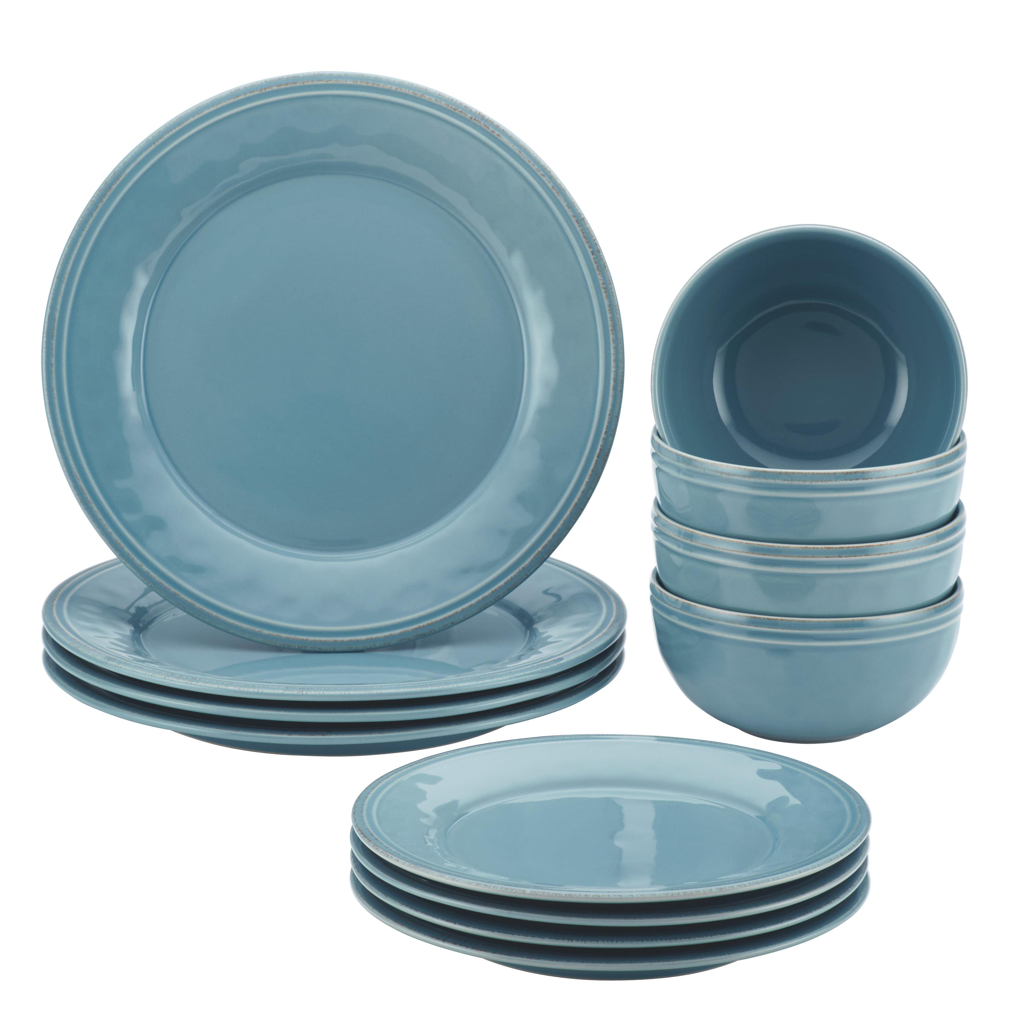 Rachael Ray Cucina 12-Piece Stoneware Dinnerware Set, Agave Blue