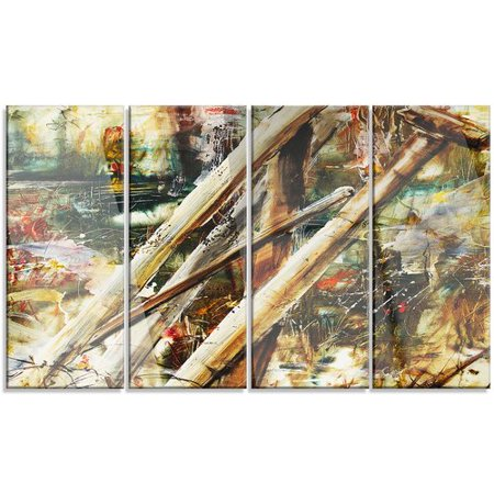 - Design Art Tools and Abstract Pattern' 4 Piece Painting Print on Metal Set
