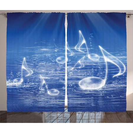 Bubble Panel - Curtains 2 Panels Set, Magical Water with Musical Notes Bubbles and Dancing Waves Fantasy Music More Than Real Decor, Living Room Bedroom Decor, Blue, by Ambesonne