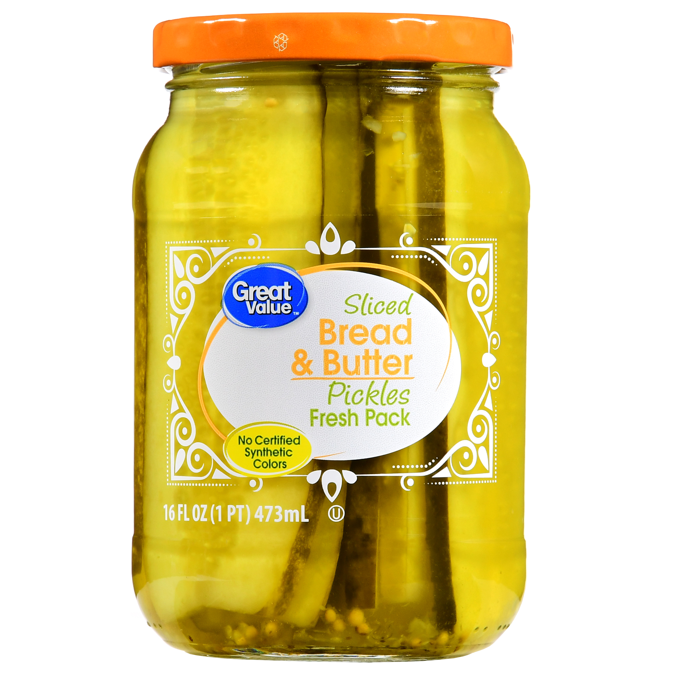 Great Value Sliced Bread & Butter Pickles Fresh Pack, 16 fl oz
