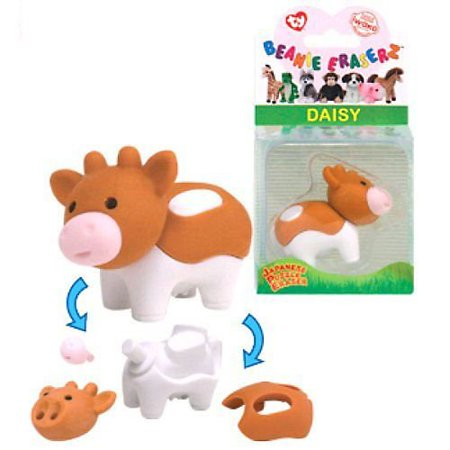Ty Beanie Babies Eraserz -Daisy the Cow Iwako Japanese Puzzle Eraser Easter