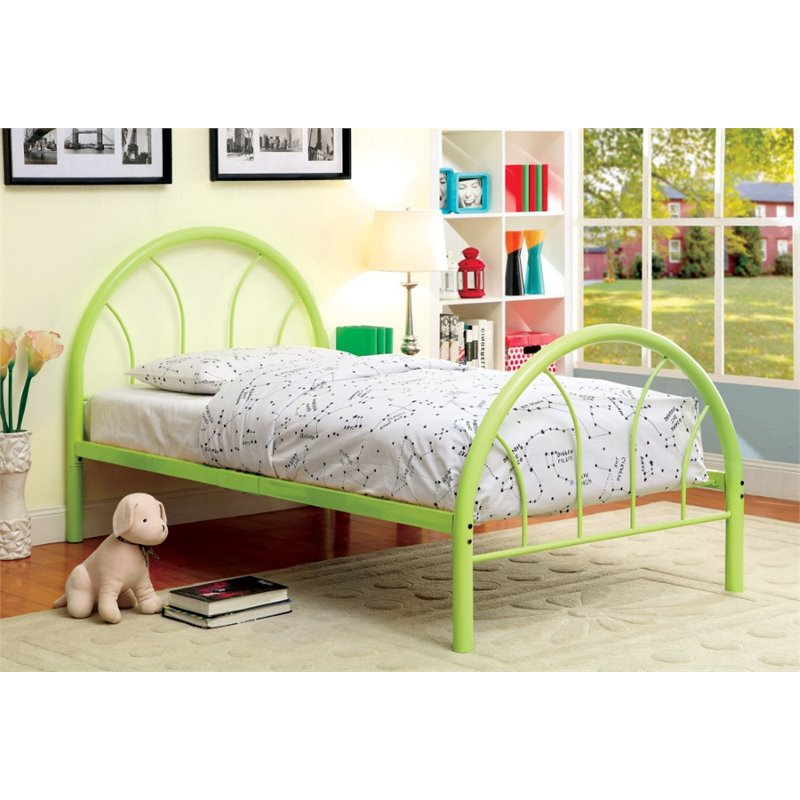 Furniture of America Capelli Twin Metal Arch Bed in Green