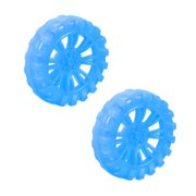 2pcs HB302AH 30mm Dia 2 Inner Hole Dia 8mm Thick Rubber Toy Car Wheel Blue