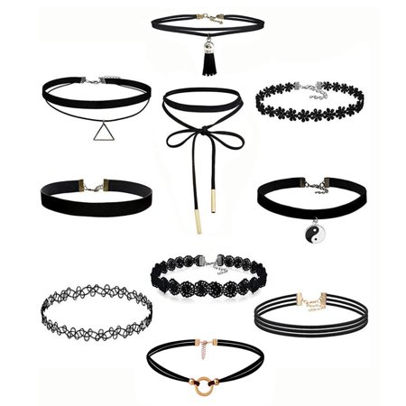 10Pieces Choker Necklace Set Stretch Velvet Classic Gothic Tattoo Lace Choker