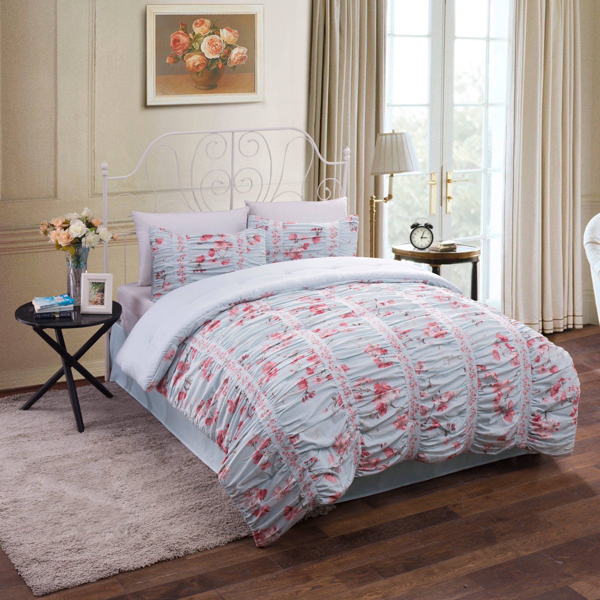 comforter com and better ip walmart piece queen homes sets set ruching bedding gardens floral cotton