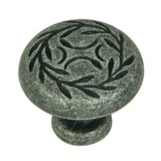 Stone Mill Hardware - Matte Black Leaf Cabinet Knob