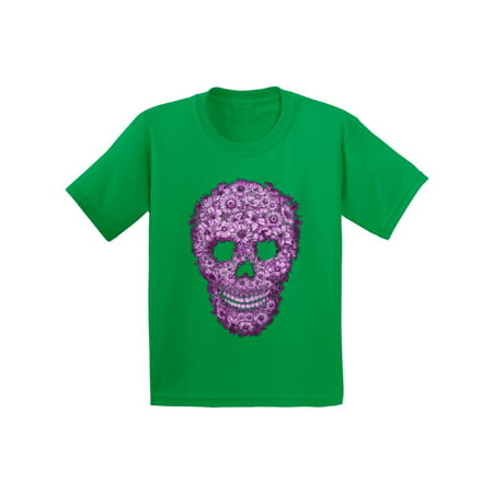 Awkward Styles Flower Skull Tshirt for Kids Floral Sugar Skull Shirt Sugar Skull Youth Shirt Day of the Dead T Shirt Dia de los Muertos Gifts for Kids Halloween Outfit Sugar Skull Flowers T-Shirt - Gifs De Halloween