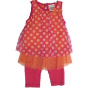 Little Girls Fuchsia Orange Dotted Bow 2 Pc Capri Set 2T-4T