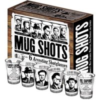 Mug Shots Shot Glasses Famous Gangsters Set of 6 Al Capone Drink ware Accessory by The Unemployed Philosophers Guild