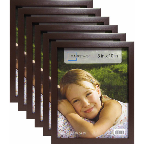 "Mainstays 8"" x 10"" Brown Linear Frame, Set of 6"