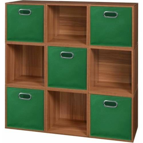 Regency Niche Cubo Storage Set, 9 Cubes, Warm Cherry and 5 Canvas Bins, Multiple Colors